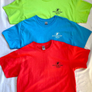 Men's T-shirts - Paprika Red, Blue and Lime Green