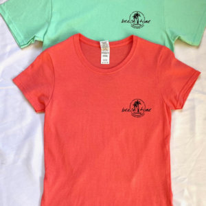 Women's T-Shirts - Seafoam Green and Coral